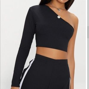 Pretty Little Thing Black One Sleeve Top
